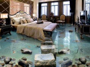 3D Waterfall Steps Floor Mural Decal