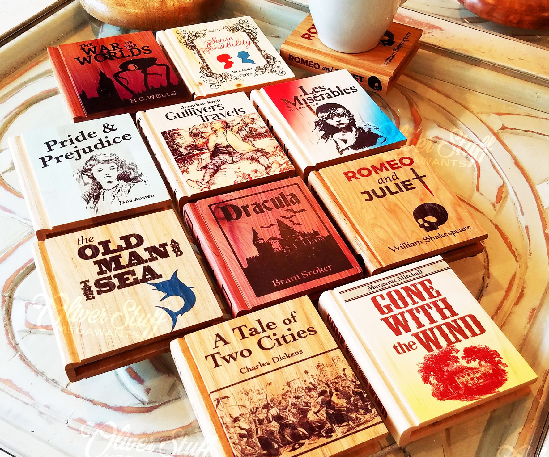 Classic Book Wooden Coasters 1