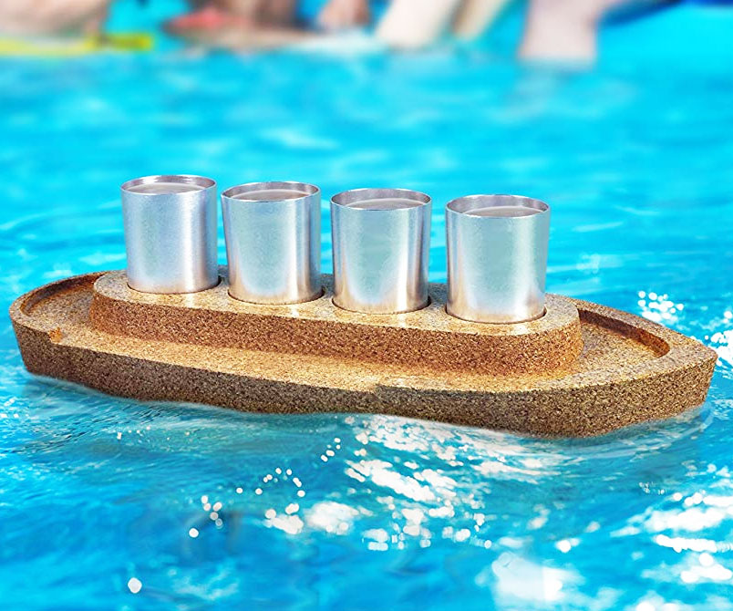 Cork Boat Shot Glass Serving Tray