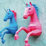 Diy Wall Mounted 3d Unicorn Papercraft 1