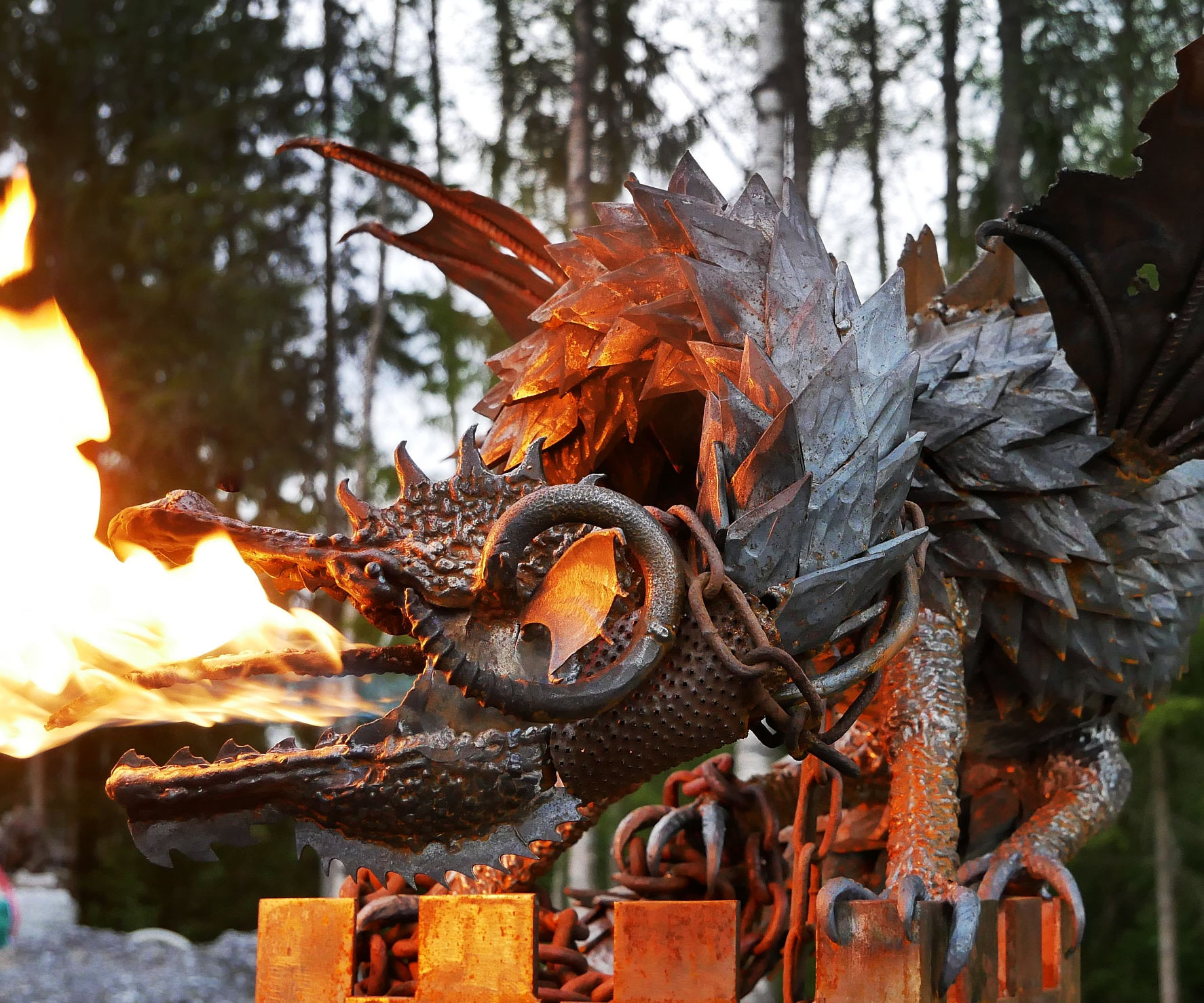 Fire Breathing Dragon Sculpture