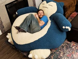 Giant Snorlax Hand Knit Bean Bag