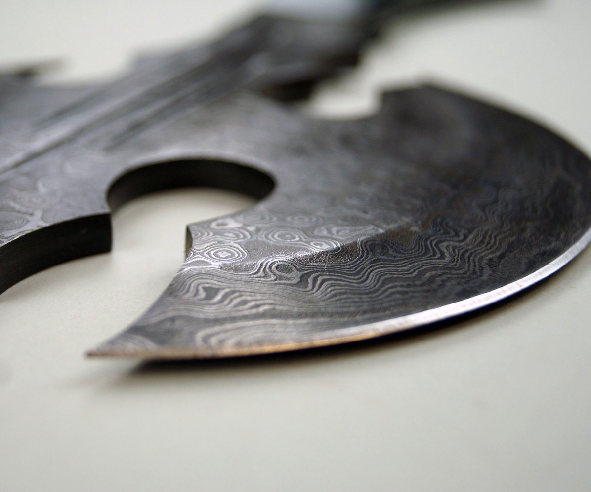 One Handed Damascus Axe 1