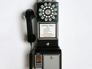 Push Botton 1950s Black Payphone