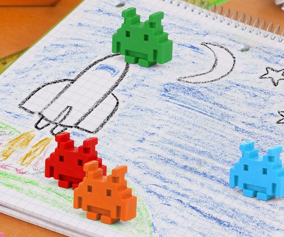Space Invader Crayons